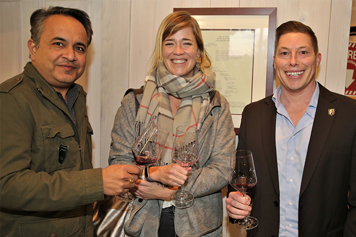 Winemaker Courtney Foley with two colleagues at the PNV Party
