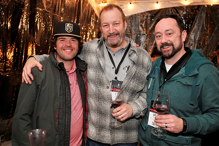 Winemaker Patrick Foley with two colleagues at the PNV Party