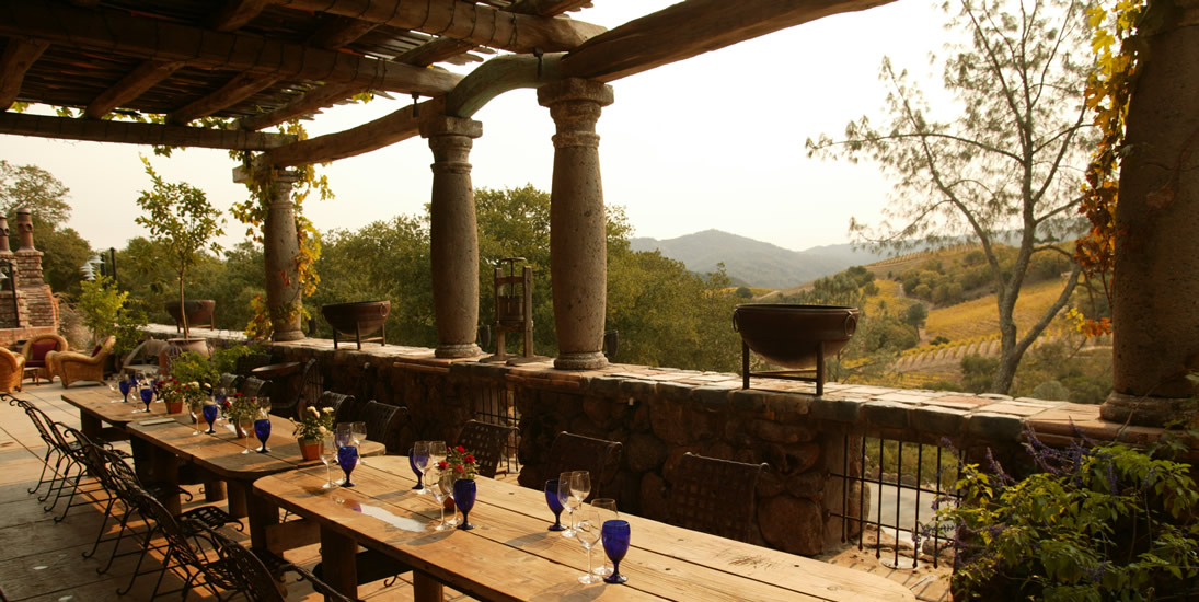 Long Wooden Tasting Table on the Rustic Kuleto Porch