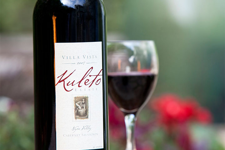 Bottle and Glass of Kuleto Red Wine