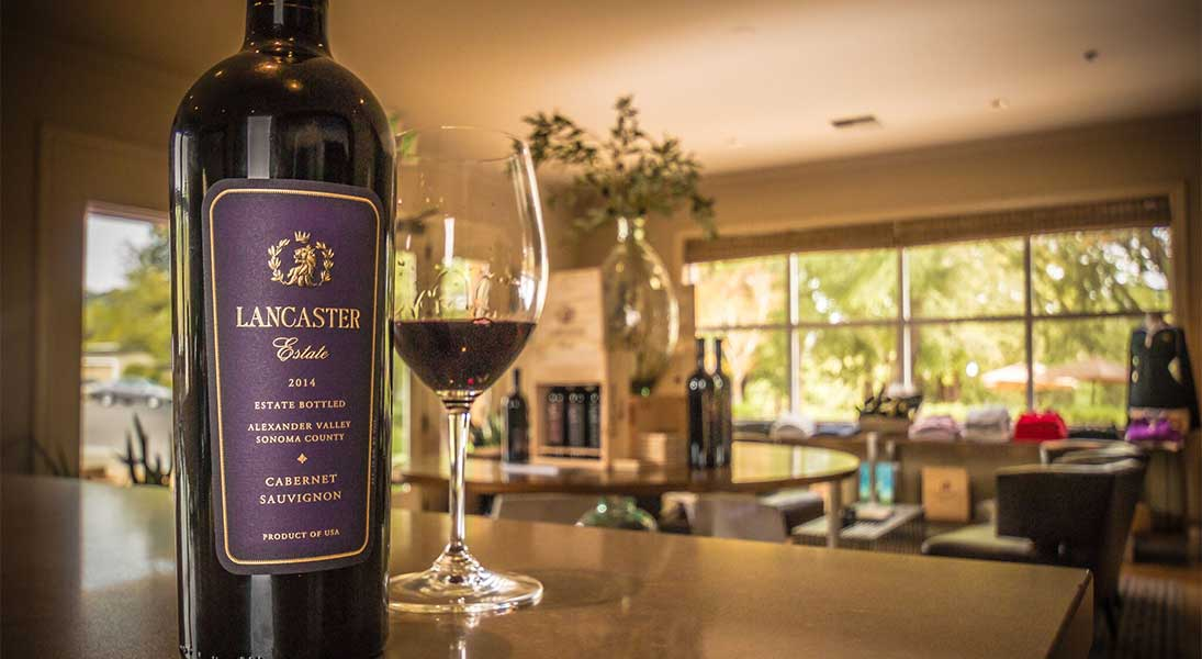 Glass and Bottle of Lancaster Cabernet