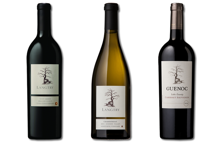 3 Bottles of Langtry Wines, 2 Red, 1 White