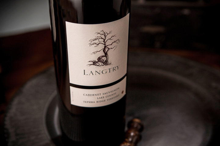 Close Up of Label on Langry Wine Bottle