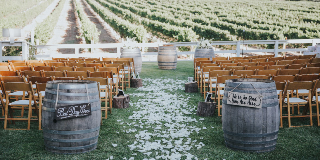 Chairs on either side of the flower strewn aisle in a grassy area overlooking the Lincourt VIneyard awaiting the wedding ceremony.