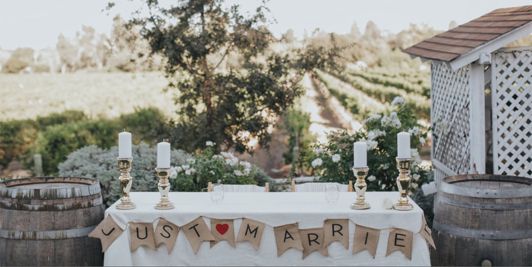 Welcome Table with Just Married Ribbon Overlooking the Lincourt Vineyard