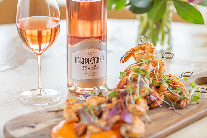 Ferrari-Carano Dry Rosé with Grilled Shrimp Skewers with Romesco Sauce