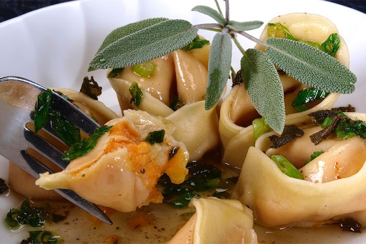 Pumpkin Tortellini with Almonds in Brown Butter Sage Sauce