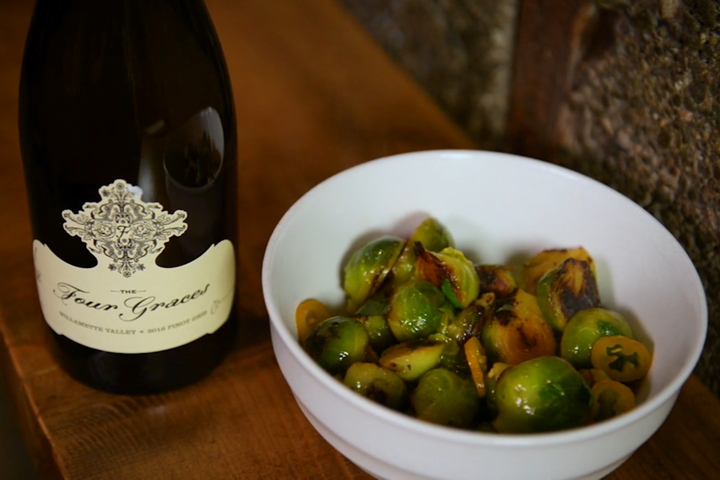 Cast Iron Brussels Sprouts with Meyer Lemon and Pickled Peppers