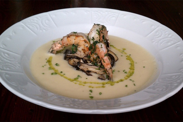 Potato Leek Soup with Truffled Mushrooms and Prawns