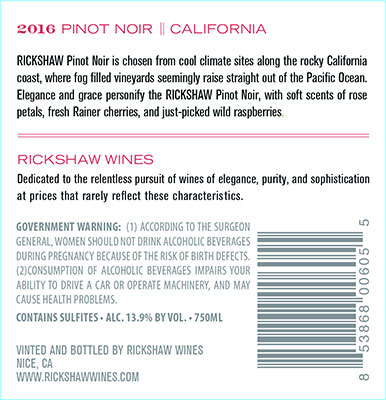 2016 RICKSHAW Pinot Noir Back Label