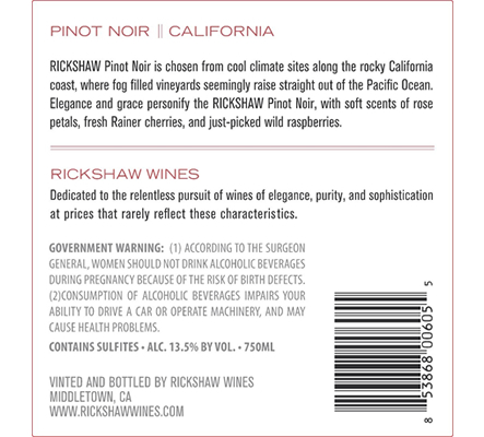 2019 RICKSHAW Pinot Noir Back Label