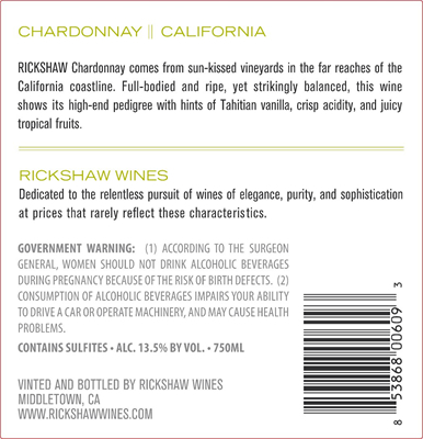 2018 RICKSHAW Chardonnay Back Label