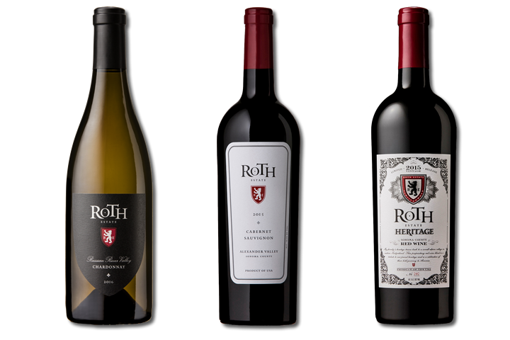 Three Bottles of Roth Red and White Wines