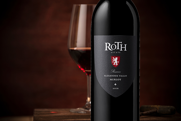 Roth red wine on table