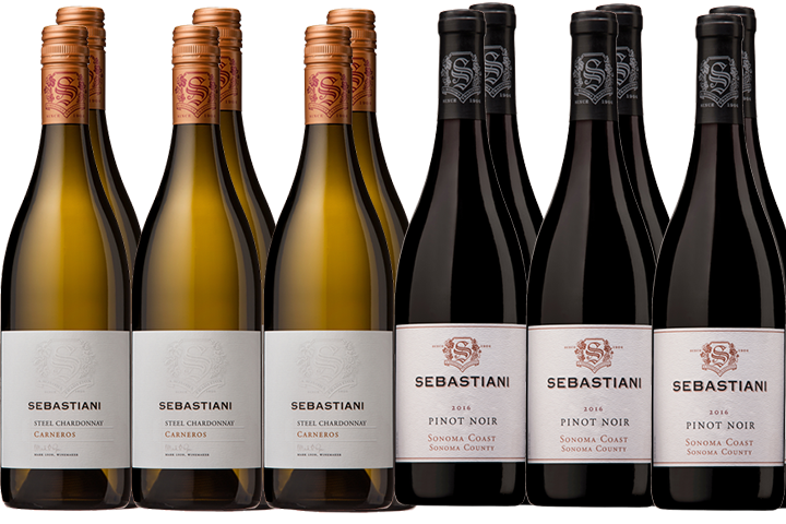 Twelve Bottles of Sebastiani Red and White Wines