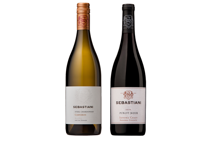 Two Bottles of Sebastiani Wine, One Red, One White