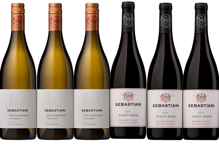 Six Bottles of Sebastiani Red and White Wines