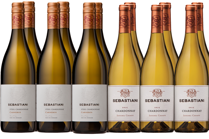 Twelve Bottles of Sebastiani White Wines