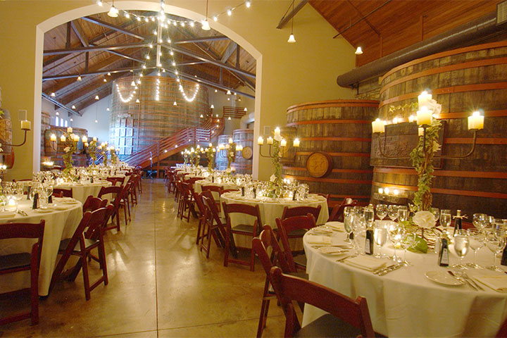 Tables Elegantly Dressed for a Wedding the Sebastiani Vineyards & Winery Barrel Room