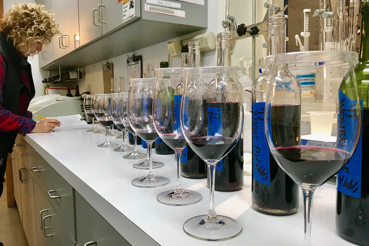 Holly Turner Blending Three Rivers Wine in the Lab