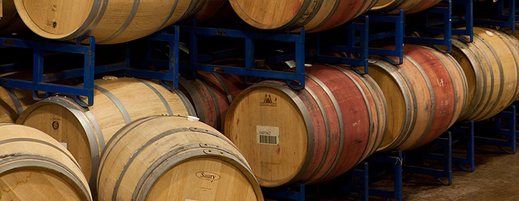 Wine Barrels in the Three Rivers Barrel Room