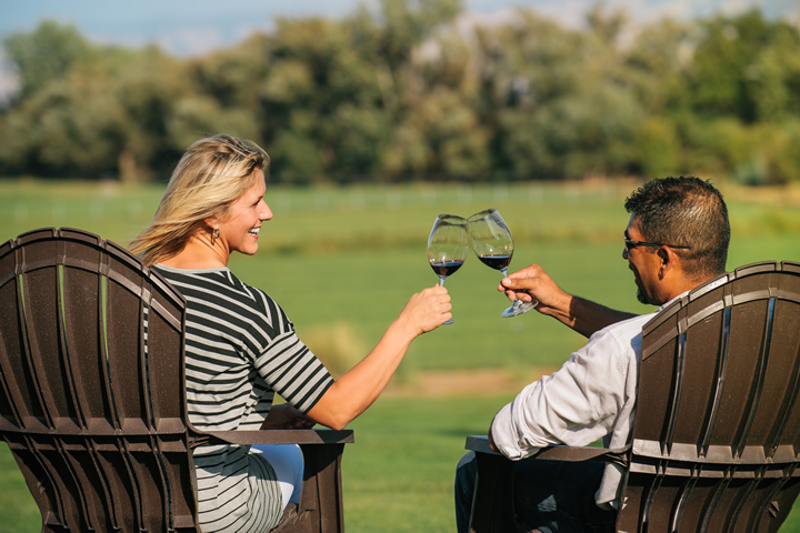 Man and Woman Enjoying Wine Tasting at Three Rivers