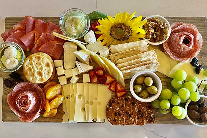 Enjoy a classic cheese and charcuterie board with your wine tasting