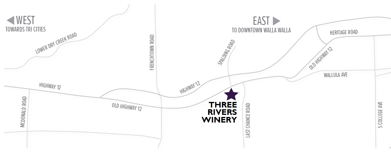 Close Up Map to find Three Rivers Winery in Walla Walla