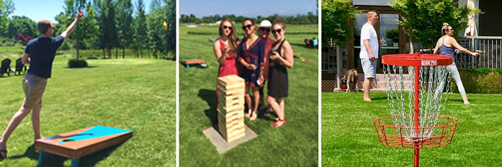People Enjoying Corn Hole, Giant Jenga and a Disc Golf at Three Rivers