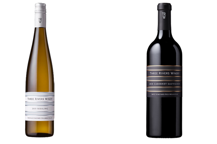 Two Bottles of Three Rivers Red and White Wines