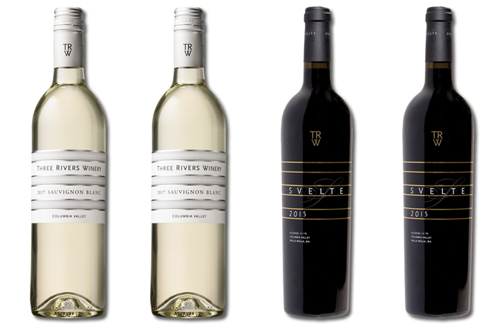 Four Bottles of Three Rivers Red and White Wines