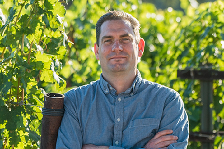 Dave Frazier in the Vineyards at Foley Estates