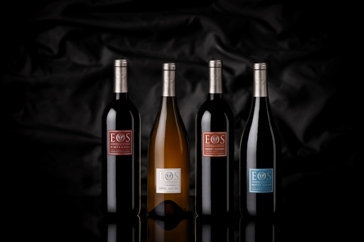 Gorgeous lineup of 4 Eos wine bottles