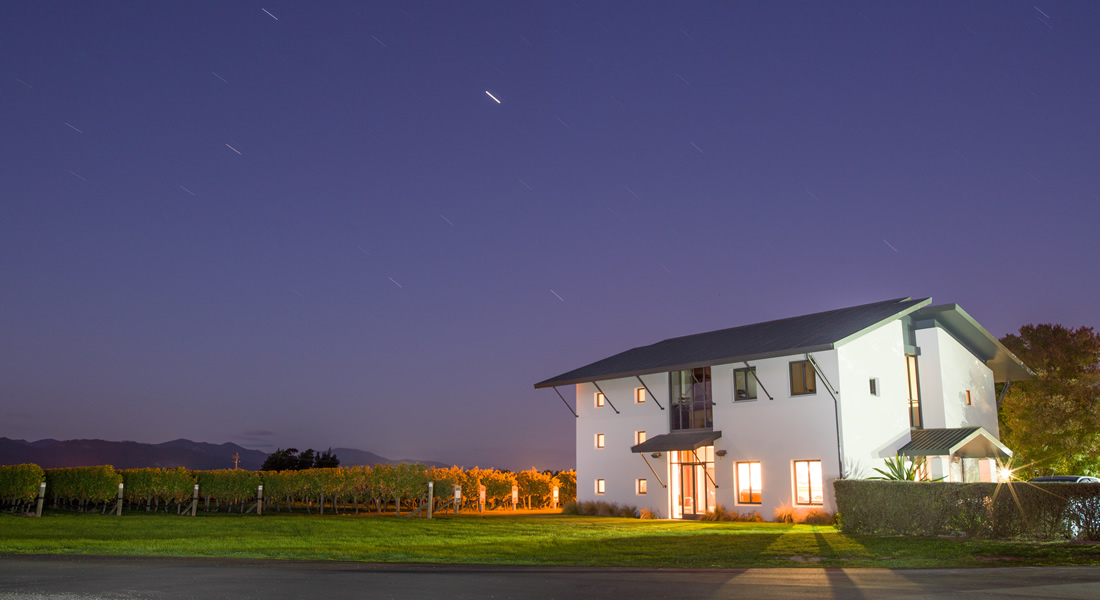 Grove Mill Winery and Vineyards under a starry sky