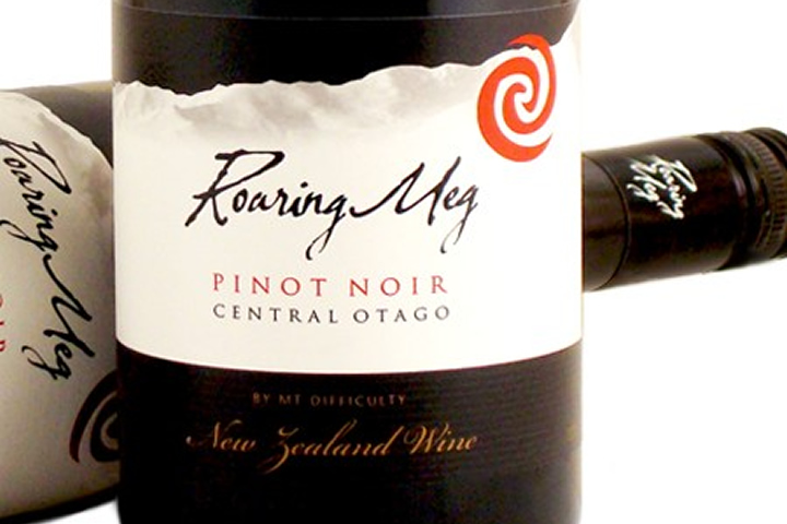 Beauty shot showing 2 bottles of Roaring Meg Pinot Noir