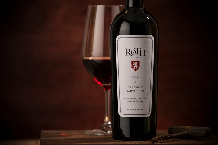 Roth Estate red wine bottle and filled glass