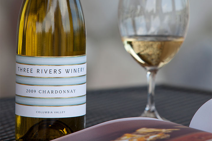 Three Rivers Chardonnay and filled wine glass